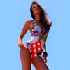 Three Thousand Two One Piece by Irgus Swimwear, front view on model, bright colors print with cutouts and mesh