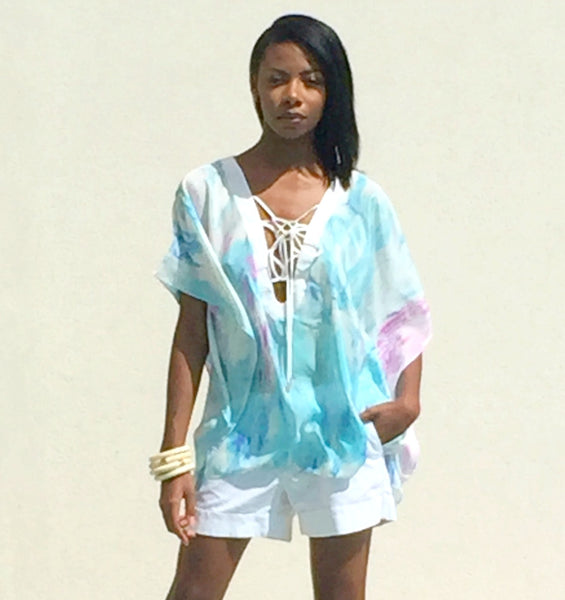 Cayman Wave Entwined Kaftan with White Trim by Isy B. Design