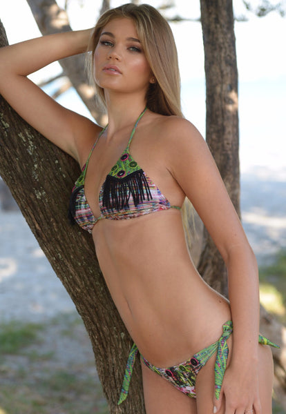 Kumbaya Bikini by Palheta Swimwear, with embroidery, fringes, ties, by Palheta Swimwear at VaultXV.com
