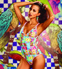 Night Paletas One Piece Swimsuit by MolaMola, ice cream print over light blue, adjustable double straps