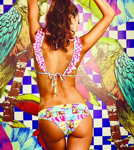 Paletas Bikini by MolaMola, view of back on model, ruffles on straps, no stitch edges, bright colors