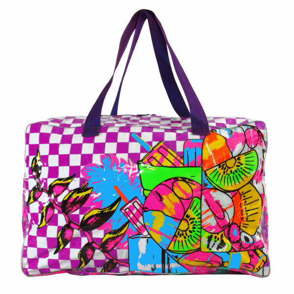 Paleta Towel Bag by MolaMola Swimwear, checkers and bright fruits, purple strap, large enough for towel and more.