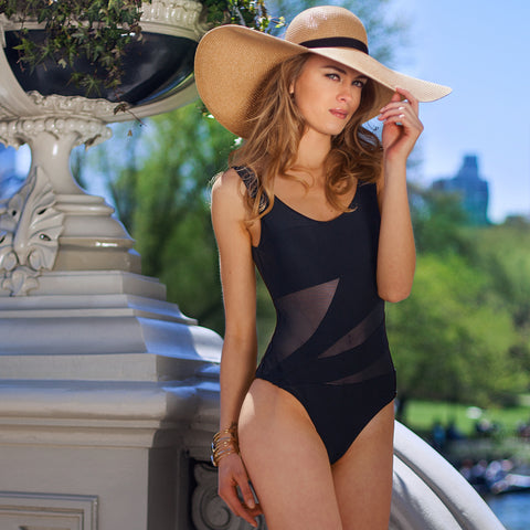 Tessa One Piece Swimsuit by Palheta, black with see through mesh, at VaultXV.com