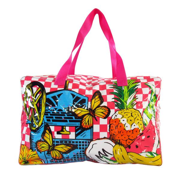 Raspado Towel Bag by MolaMola, plastic outside, bright color coordinated with checkers, pink handles.