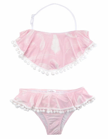 Light Pink Feather Bikini by Stella Cove, pale pink girls bikini with pompoms, at VaultXV.com