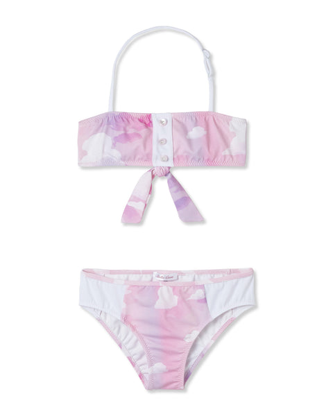 Pink Cloud Ombre Bikini by Stella Cove, pink print with white clouds, bandeau style with removable straps, at VaultXV.com