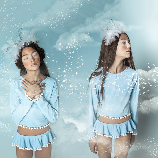 Light Blue Rashguard Set for Girls by Stella Cove, on model, front view