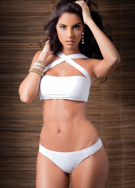 White Glam Bandeau Bikini by Tequila Beach Swimwear, front view on model, white bandeau top with removable crossed straps, at VaultXV.com