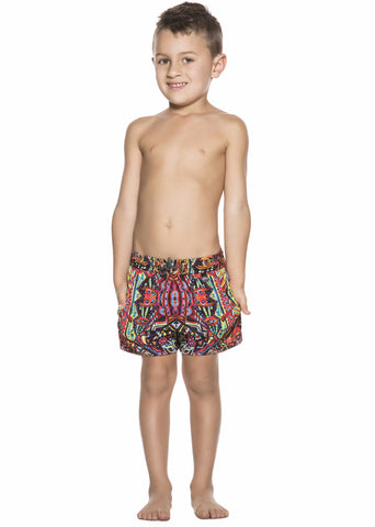 Bendito Simbolo Boys Swimshort by Agua Bendita, front of elastic waist short with drawstrings