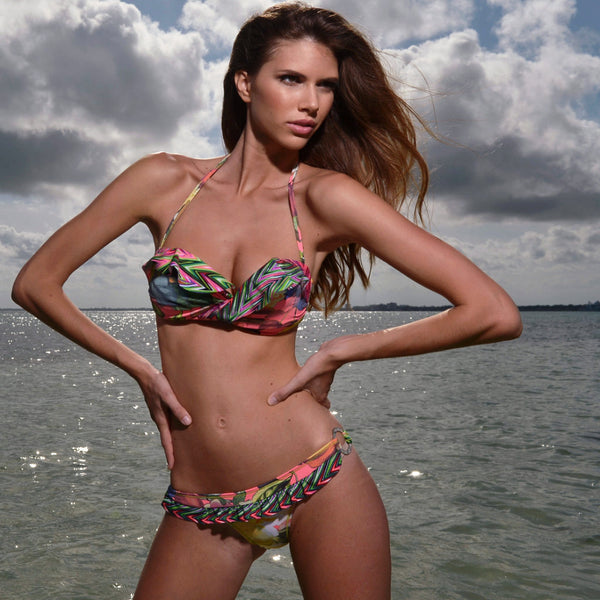 Kansas Bikini by Palheta Swimwear, view of front on model at beach, at VaultXV.com