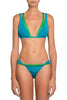 Chloe Duo-Coloured Strappy Bikini by Moeva in Green/Turquoise at VaultXV