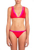Chloe Duo-Coloured Strappy Bikini by Moeva in Pink/Red at VaultXV, on model