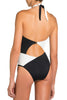 Marissa One Pice Swimsuit by Moeva, Black/Nude/White combination, view of back on model