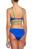 Zoe One Piece Swimsuit by Moeva, Blue/Green combination on model, view of back