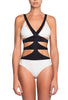 Zoe One Piece Swimsuit by Moeva, White/Black combination on model