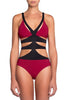 Zoe One Piece Swimsuit by Moeva, Red/Black combination on model