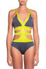 Zoe One Piece Swimsuit by Moeva, Smoke/Lime combination on model