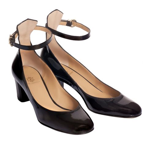 Estelle Black Ankle Strap Pumps