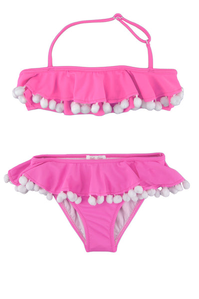 Pink Flared Pom Pom Bikini by Stella Cove, white pom poms in both pieces, adjustable strap around the neck, at VaultXV