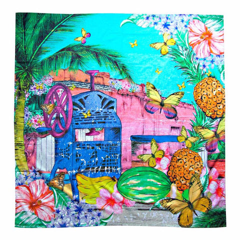 Raspado Sarong by MolaMola Swimwear, with bright colors vintage ice shave machine and fruits print