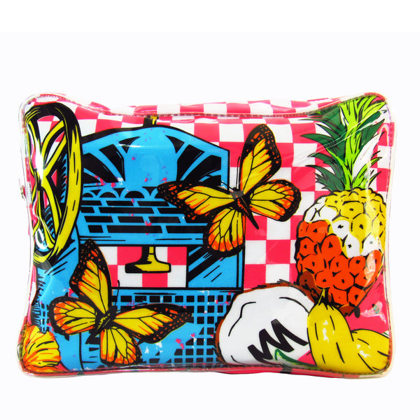 Raspado Cosmetics Case by MolaMola, plastic, printed in checkers and vintage shaved ice machine, and colorful fruits and tropical vibes. At VaultXV.com