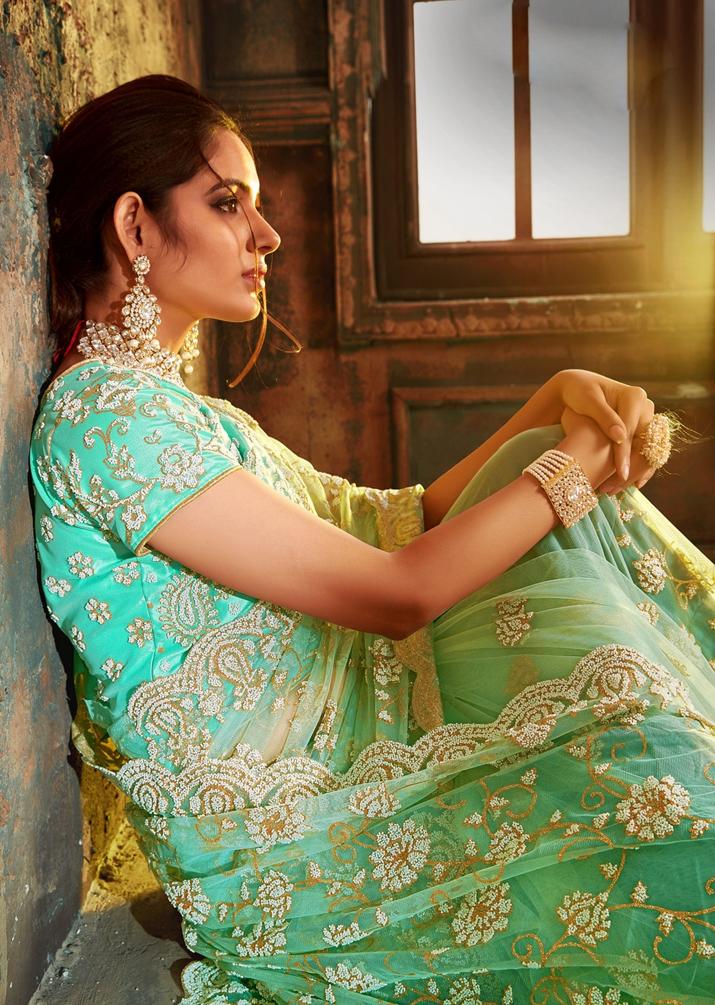 Green Net Embroidered Latest Fashion Sarees Online