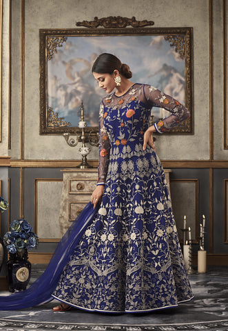 Beautiful Blue Net Embroidered Gown Style Anarkali Wedding Suit And Salwar