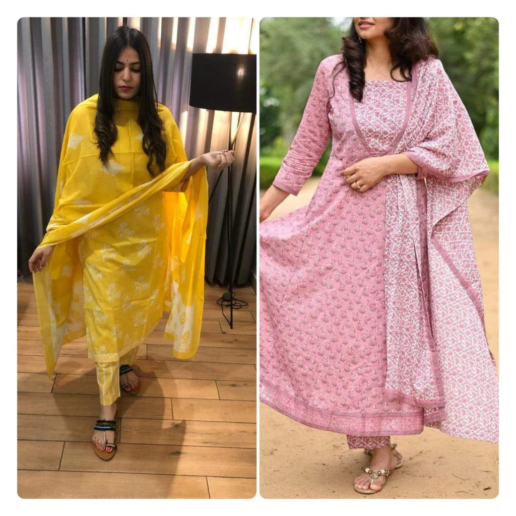 Lemon yellow kurthi and light pink Anarkali  Combo Kurti Sets