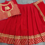 Red Taffeta Silk Embroidery New Party Wear Ghagra Choli Online Shopping