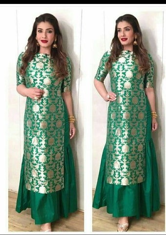 Raveena Green Brocade Lengha Choli Online Shopping