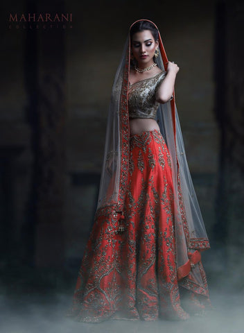 Fiery Coral Red Embroidered Silk Indian Wedding Wear Lehenga Choli