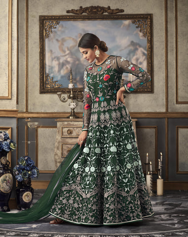 Green Net Embroidered Gown Style Anarkali Shalwar Kameez Online