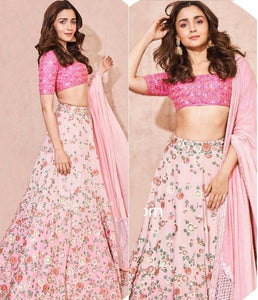 Alia Bhatt Pink Embroidered Bollywood Party Wear Lehenga Online Shopping