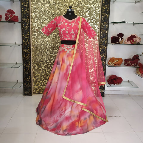 Multi Color Shibori Print Latest Party Wear Lehenga Choli Online Buy