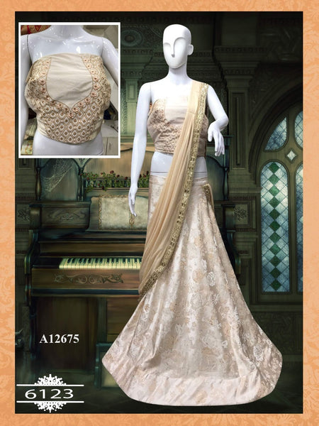 Beige Silk Bollywood Chaniya Choli Online Shopping