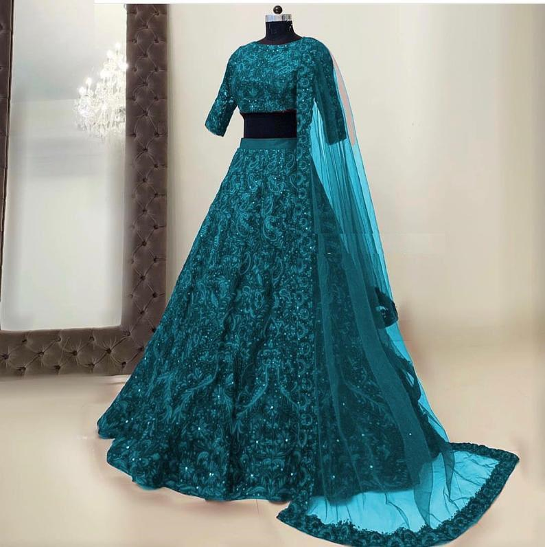 Teal color Hotselling Silk Embroidered Lehenga Choli in 5 colors