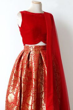 New Red Brocade Indian Lehenga Choli Designs ,Indian Dresses