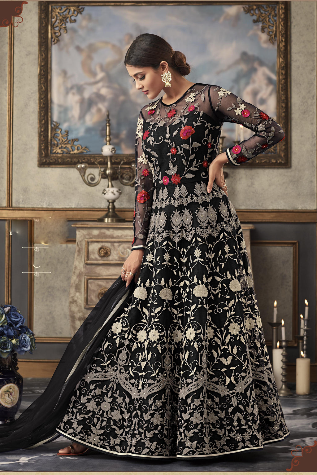 Black Embroidered Gown Style Wedding Wear Latest Salwar Suit Design