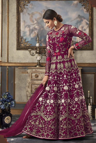 Purple Embroidered Gown Style Indian Latest Designer Salwar Kameez