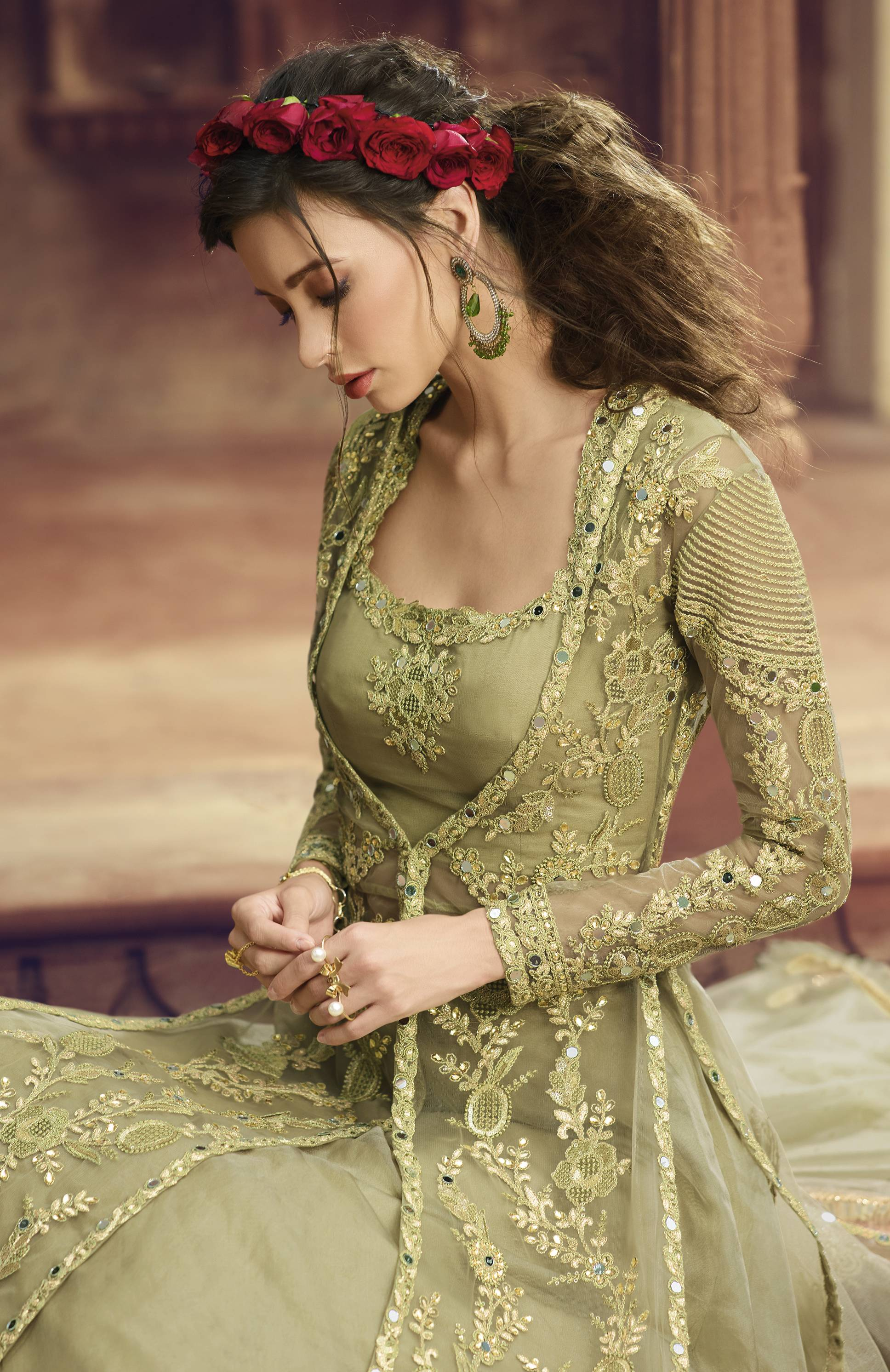 Pista Green Net Gown Style Indian New Design Salwar Kameez