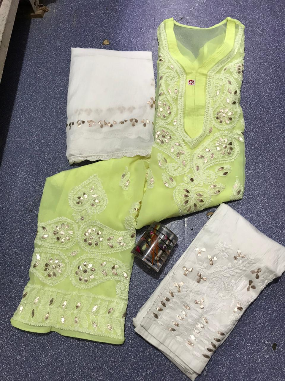 Florescent Green Chikankari Kurti 3 pc set Georgette Gota patti Combo