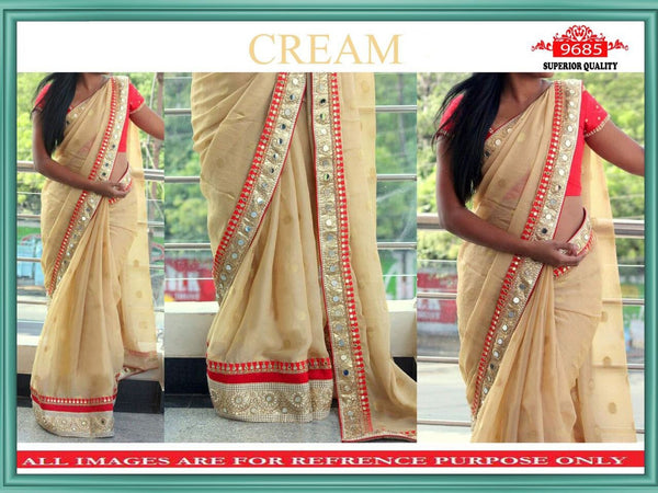 Cream Georgette Buy Bollywood Clothes Online ,Indian Dresses - 1