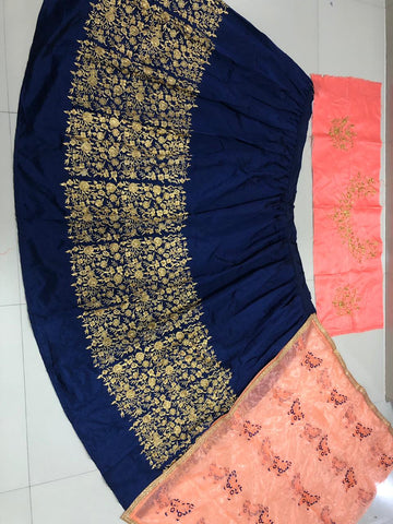 Navy Blue Taffeta Silk Embroidery New Lehenga Blouse Online Store