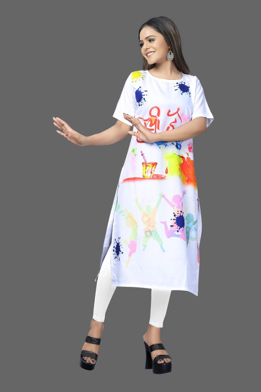 Digital Print White Crepe Kurtis Indian Holi Festive