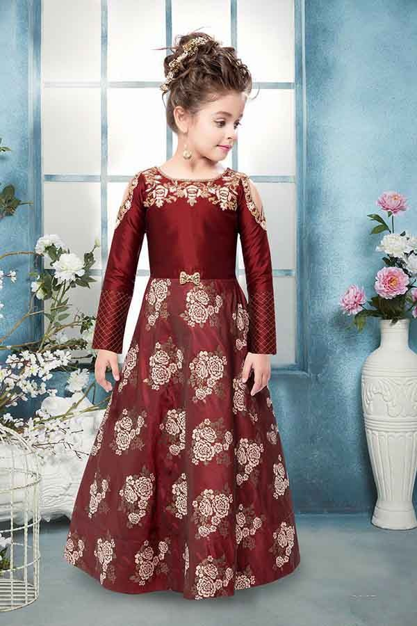 eda490a33 Wine Color Silk Cold Shoulder Kids Party Wear Shopping Online