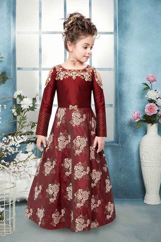 Wine Color Silk Cold Shoulder Kids Party Wear Shopping Online