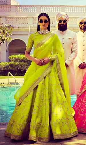 Lime Green Embroidery Silk Latest Lehenga Choli Online
