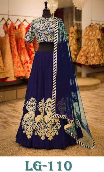 Embroidered Velvet Navy Blue Latest Lehenga Choli Designs