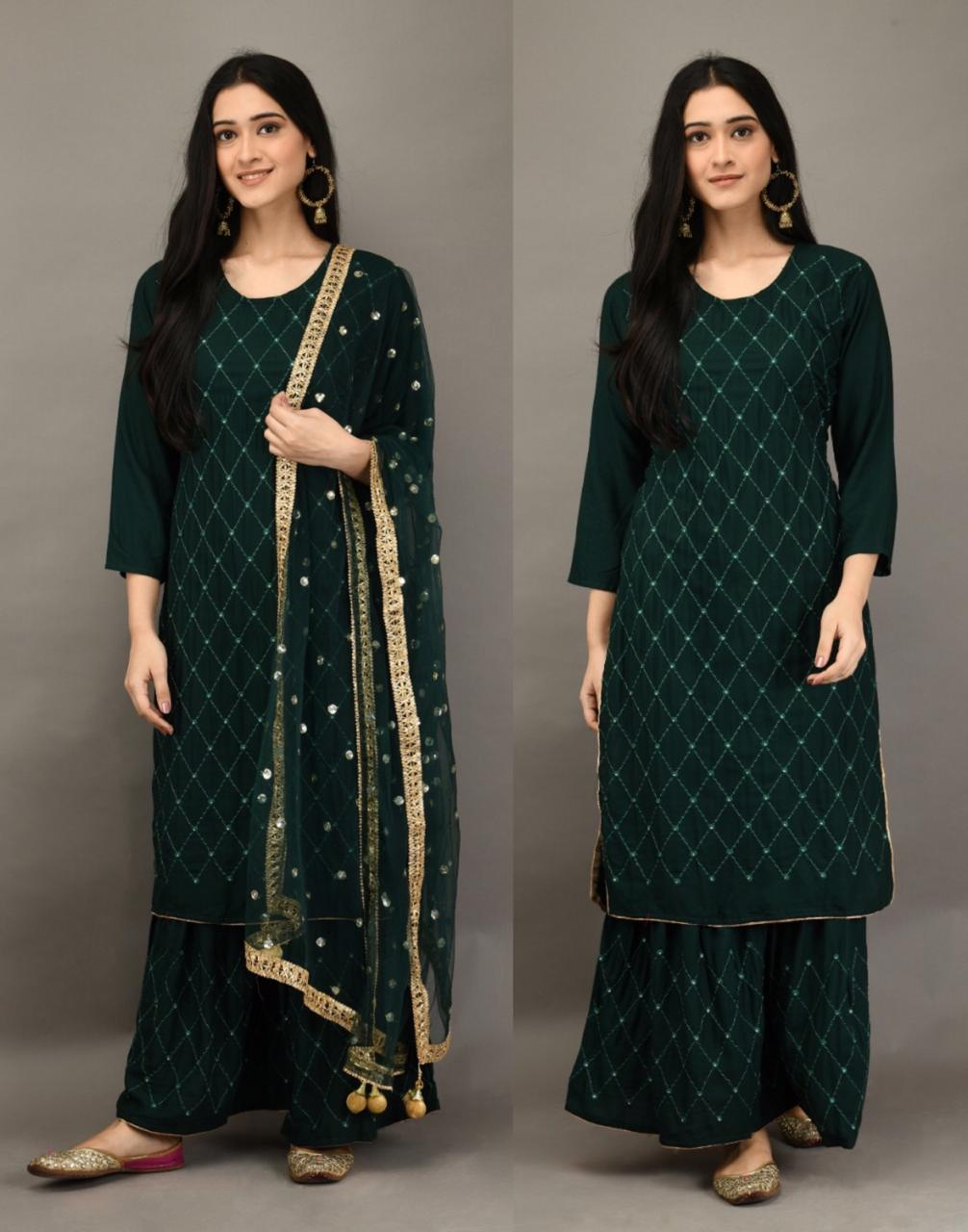 Green 3 Pc Kurti Pallazo with Embroidery work and Sequins work Dupatta