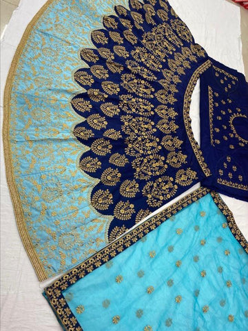 Navy Blue And Blue Silk Embroidered Indian Ghagra Choli Designs Online Buy